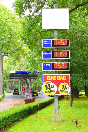 unleaded: Petrol station in the forest Stock Photo