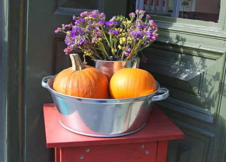 specifies: Bowl with orange pumpkins and dried flowers in autumn