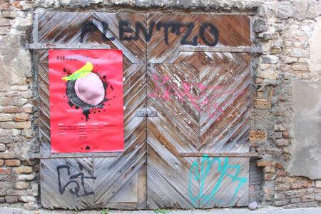garage doors: Retro garage doors in the Old town of Vilnius, Lithuania