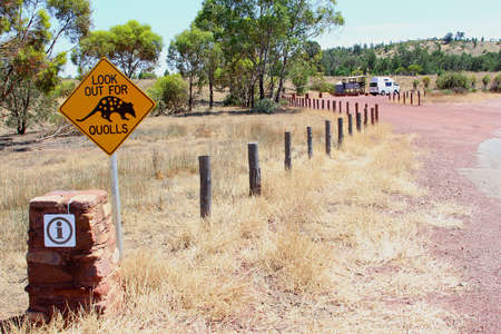 ranges: Warning road sign for crossing Quolls, South Australia