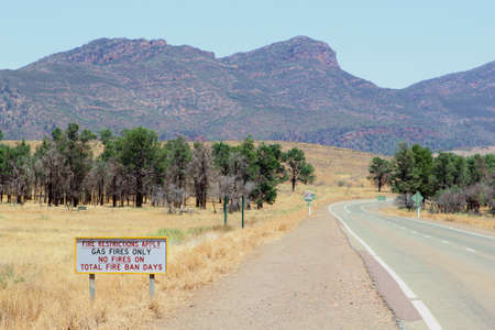 flinders: Fire restrictions warning sign in Flinders Ranges National Park, South Australia Stock Photo