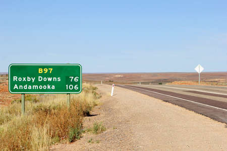 dawns: Road sign to Dawns Roxby and Andamooka in the Outback of South Australia