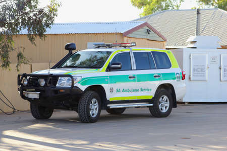 first australians: Glendable, South Australia, December 2015 An ambulance is on standby in the Outback of Australia for emergencies like accidents, snakebites and acute sickness
