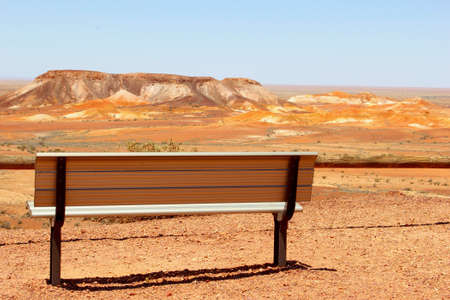 aboriginal: Viewpoint with a bench in the Breakaways, South Australia