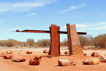 australasia: Monument of the Red Centre Way, Lasseter Highway, Australia Stock Photo