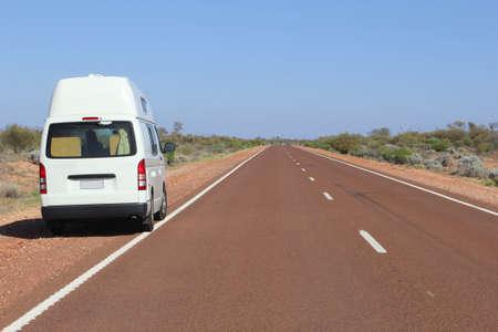 campervan: Campervan along the Stuart Highway in South Australia