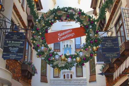 christmastime: Perth, Western Australia, in December 2015 Seasons Greetings at Christmastime in the historic shopping area of London Court Editorial