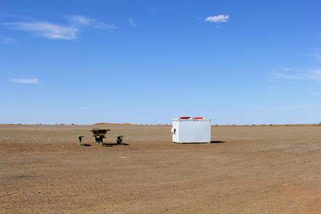 australian outback: Picnic in the desert along the Stuart Highway, Australian Outback Stock Photo