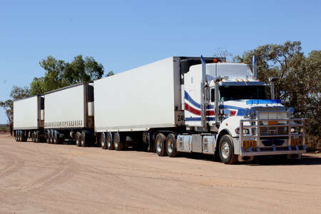 the outback: Road train truck in the Australian Outback
