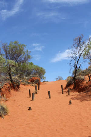 red centre: Hiking trail in the red sand dunes along the Lasseter Highway, the Red Centre of Australia