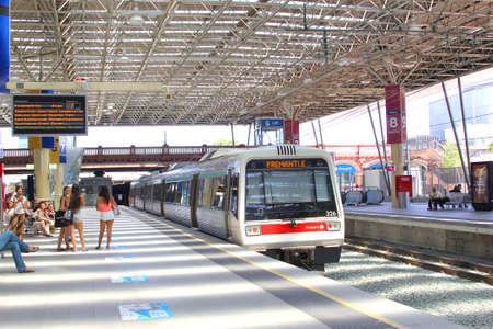 western australia: Perth, Western Australia, in December 2015 Train is departing to Freemantle at North Bridge Railway Station Editorial