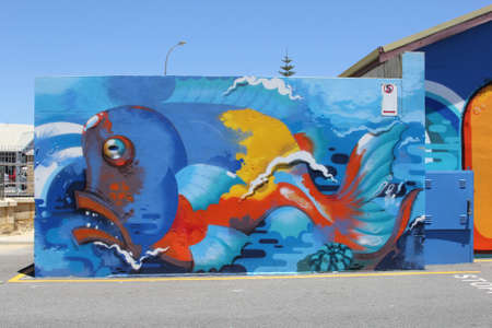 murals: Marine life street art in the harbor of Freemantle, Western Australia Editorial