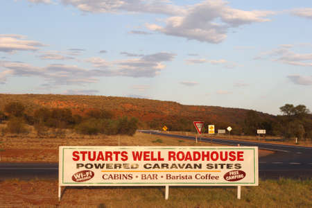 powered: Stuart Highway, Northern Territory, Australia, December 2015 Stuarts Well Roadhouse offers cabins and powered sites for caravans and motorhomes