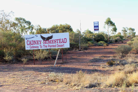 gasoline powered: Stuart Highway, South Australia, December 2015 Cadney Homestead Roadhouse along the Stuart Highway A87 with powered sites for caravans and camper vans, motel, food and a gas station in the Australian Outback