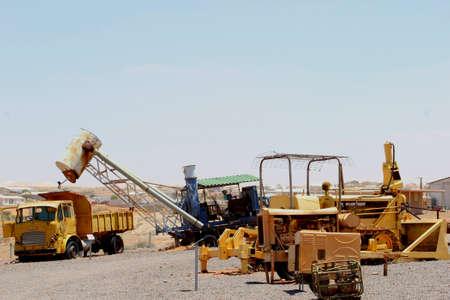 opal: Retro machines and trucks for opal mining in Andamooka, South Australia Stock Photo