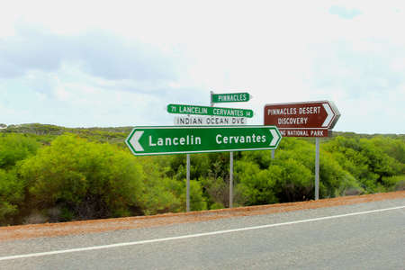 Signboards at the Indian Ocean Drive to Cervantes and Namnung National Park, Western Australia