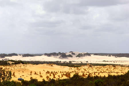 australasia: Panorama of white and yellow sand dunes at the Pinnacles Desert, Western Australia Stock Photo