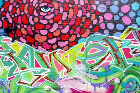 pubic: Adelaide, South Australia, December 2015 Abstract street art with a blue eye on Franklin Street Editorial