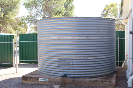 periods: Hawker, South Australia, in December 2015 Reservoir with rain water to supply drinking water in dry periods at summer