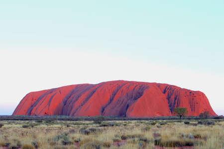 ayers: Yulara, Northern Territory, Australia, December 2015 Purple sunsetcolors Uluru or Ayers Rock in Uluru Kata Tjuta National Park Editorial