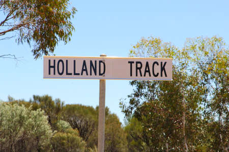 4wd: Road sign of the Holland Track, an adventurous 4WD route in Western Australia