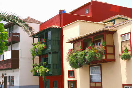 santa cruz: Santa Cruz, La Palma, Spain, in November 2010, Colorful houses with blooming flowers in Santa Cruz