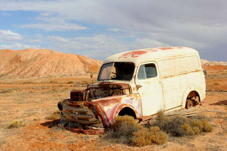 wrecked: Rusty wrecked car in the desert, South Australia Stock Photo