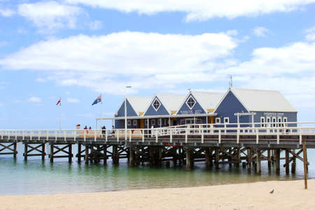 busselton: Busselton, Western Australia, Decemeber 2015, Busselton Jetty Has A length of two kilometers and is the longest jetty of the southern hemisphere Editorial