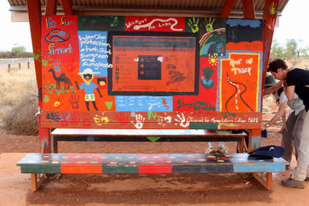 tjuta: Yulara, Northern Territory, Australia, December 2015 Street art warning signs at Uluru Editorial