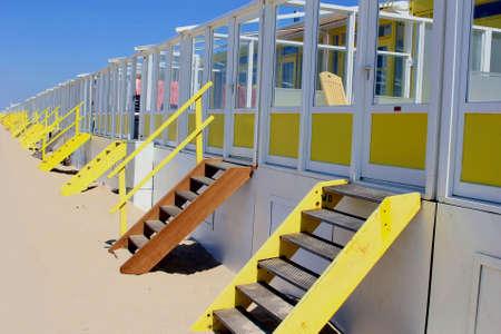 beach huts: Beach huts along the North Sea Stock Photo