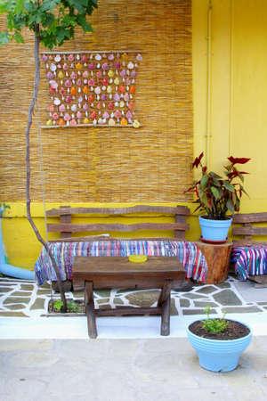 flower power: Garden patio flower power hippie style, Greece