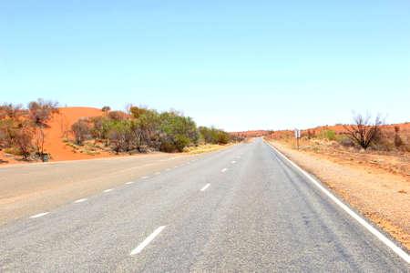 ayers: Lasseter Highway to Uluru Ayers Rock, Australia Stock Photo