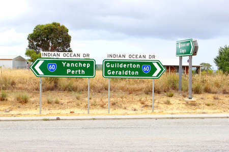 direction signs: Direction signs along the Indian Ocean drive to Perth, Guilderton, Geraldton
