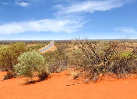 ayers: Panoramic view of Lasseter Highway to Uluru, Australia