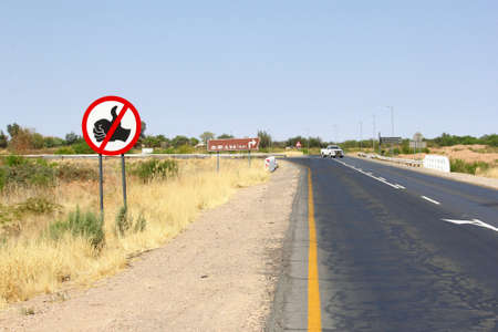 hitchhiking: No hitchhiking signboard, Mariental, Namibia