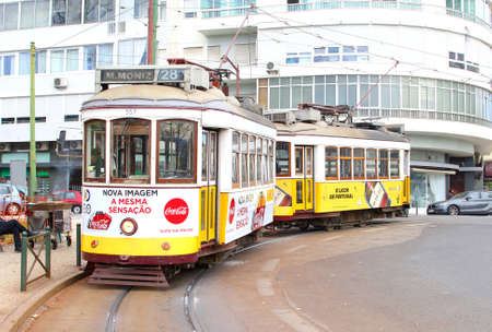 Lisbon, Portugal, January 2017 Old tram number 28 transport at a tramway in the city center