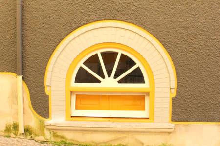 Old window frame architecture, Bairro Alto, Lisbon, Portugal Stock Photo
