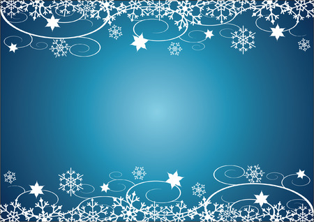 Decorative Christmas illustration with snowflakes, flowers and vines, blue background. Vector