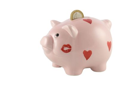 Piggy Bank with One Euro Coin Stock Photo