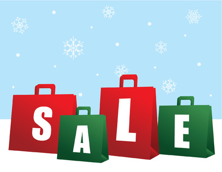 Christmas Sale Shopping Bags Vector