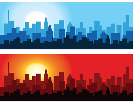 Cityscape at Dawn and Dusk Illustration
