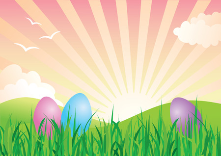 Colorful Easter Eggs in Spring Landscape Stock Vector - 4576927