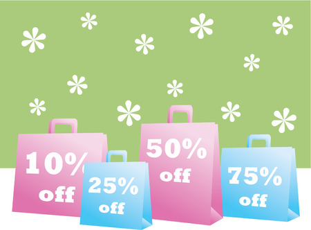 Spring Sale Shopping Bags Vector