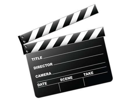 Vector illustration of a clapboard as used by directors Vector