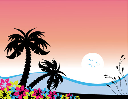 Vector illustration of palm trees at the beach at sunset Illustration