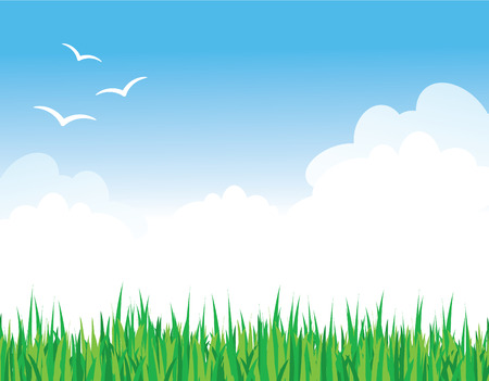 Green Grass Against a Blue Sky Illustration