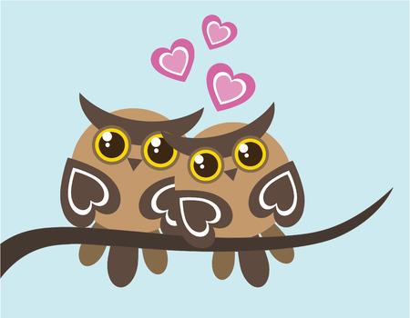 buhos: Dos lechuzas en el amor Vectores