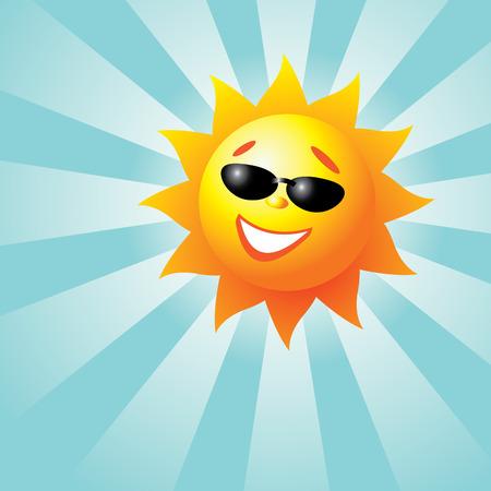 sun glass: Sonriendo Domingo Vectores