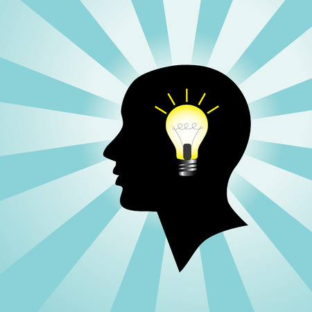 Silhouette of Human Head with Light Bulb Vector