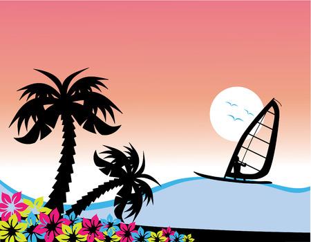 windsurf: Ilustración vectorial de un surfista